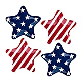 Supreme Housewares Plates Gourmet Art 4-Piece Fourth of July Patriotic Star Melamine 8 Inch, Pasta, Pastry, Desserts, Salad and Fruits, Top Rack Dishwasher Safe, One Size