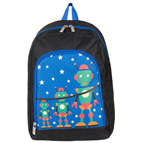 Sumaclife Nylon Hybrid Robot Print Children Backpack Camping Hiking Bag Fits Ematic Portable DVD Players