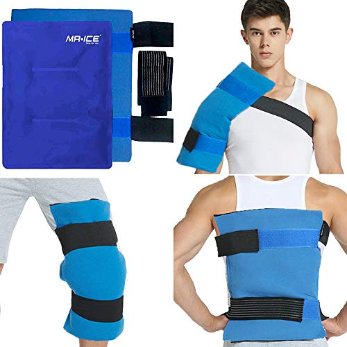 """MR.ICE Large Gel Ice Pack Wrap for Injuries, Hot & Cold Therapy with Elastic Straps - Flexible Compress for Hip Surgery, Back & Shoulder Aches, Knee Replacement, Muscle Pain Relief - 11"""" x 14"""""""