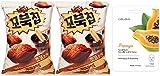 Orion Turtle Chips Korean Snacks - Chocolate Choco Churro Flavor - 2 Pack - Bonus Celavi Skin Care Facial Mask