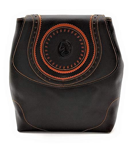 ANTHER Bolso mochila estilo cartujano fabricado en autentica piel de Ubrique, 100% vacuno cuero color marrón con cierre iman y bolsillo interior, 25x26x8,5 cm. Made in Spain.