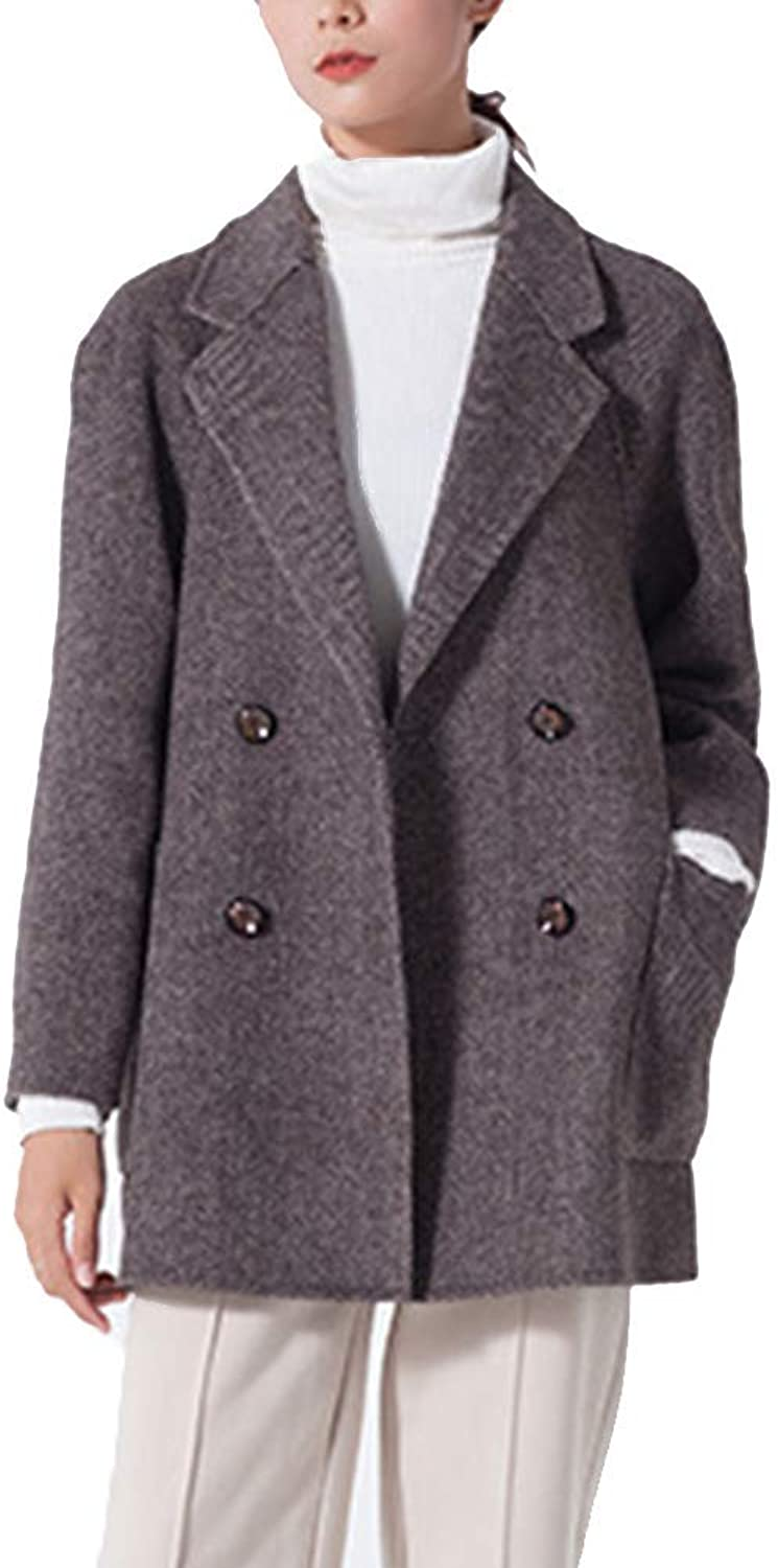 Coat Hairy Ladies Double Sided Autumn and Winter Medium and Long Section Herringbone Pattern Windbreaker Loose Coat Lapel Button,M