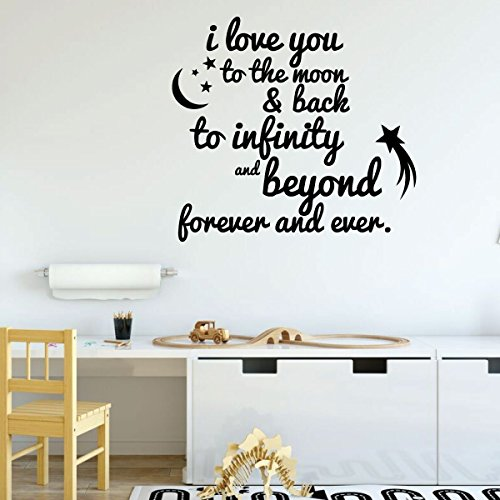 Nursery Wall Decor - I Love You to The Moon & Back, To Infinity and Beyond - Vinyl Decal Sign - Home Decoration for Children's Bedroom, Playroom