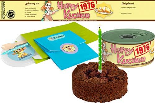Happy Kuchen | Kuchen in der Dose | Personalisiert mit Wunsch- Geburtsjahr, Namen und Geschmack | Geburtstagsgeschenk | Geschenk | Geschenkidee (Schoko-Kirsch, Geburtsjahr 1976)
