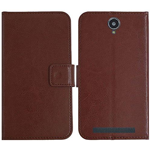 TienJueShi Brown Flip Book-Style Brief Leder Tasche Schutz Hulle Handy Hülle Abdeckung Fall Wallet Cover Etui Skin Fur Cubot H1 5.5 inch