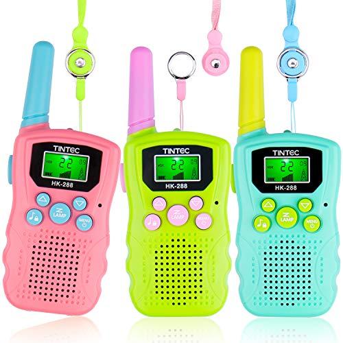 Omew Walkie Talkie 3 Pack para Niños de 8 Canales y 2 vías con Linterna LED retroiluminada, Rango de 3KM, La Linterna incorporada para Niños de 3+ años