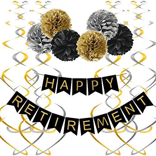 SSZZ Kit De Decoraciones para Fiestas De Jubilación Remolinos Colgantes Serpentinas Banner Hombres Y Mujeres Suministros De Fiesta De Oro Negro