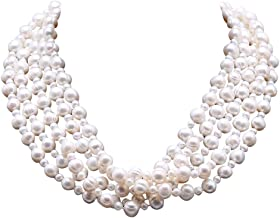 JYX Multi Strand Pearl Necklace 5X10 White Freshwater Cultured Pearl Necklace for Women 20