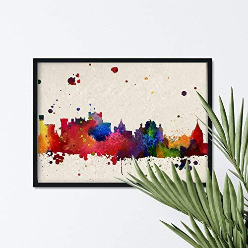 Nacnic Lámina Ciudad de Pamplona. Skyline Estilo Acuarela y explosión de Color. Poster tamaño A3