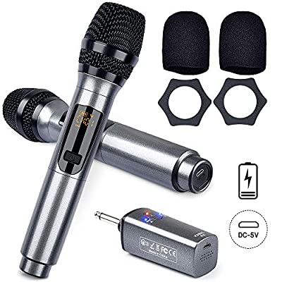 LEKATO Wireless Microphone Rechargeable Dual Microphones UHF Cordless KaraokeMicrophone Dynamic Mic Set with Rechargeable Receiver for Karaoke Singing Meeting DJ Speech Church Wedding Party