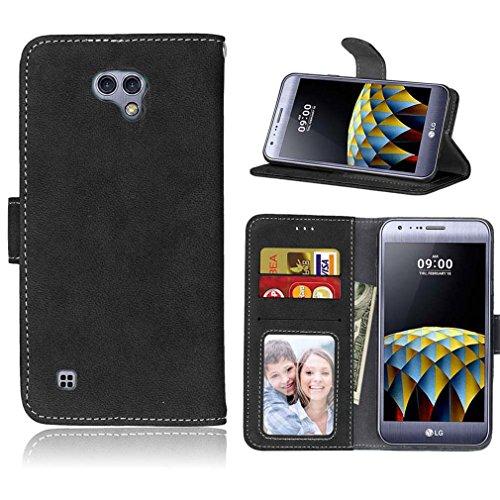 LMAZWUFULM Hülle für LG X Cam / K580 5,2 Zoll PU Leder Magnet Brieftasche Lederhülle Retro Gefrostet Design Stent-Funktion Ledertasche Flip Cover Schwarz