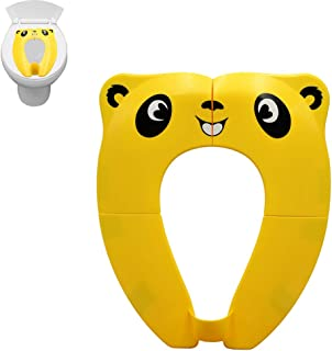Branger Upgrade Folding Potty Toilet Training Seat with Non Slip Silicone Pads and Splash Baffle Travel Portable Potty Seat Reusable with Carry Bag for Babies Toddlers and Kids (Yellow)