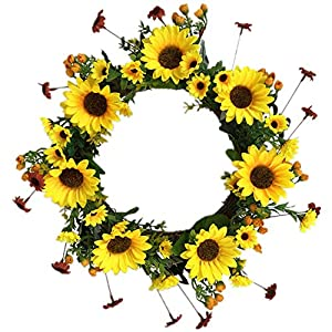 Nuxn 43cm Artificial Sunflower and Twig Wreath Silk Large Decorative Summer Flower Wreath with Yellow Sunflower Floral Door Wreath for Front Door Indoor Wall Wedding Home Decoration