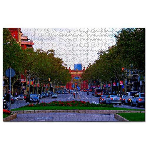 España Las Ramblas Barcelona Rompecabezas de 1000 Piezas para Adultos y familias, Regalo de Viaje de Madera, Recuerdo de 30 x 20 Pulgadas