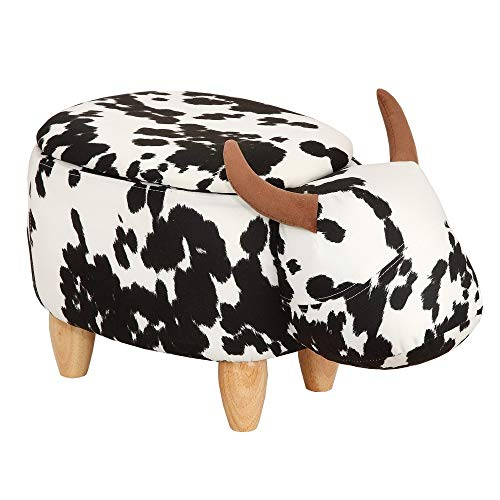 Homegear Animal Kids/Nursery Ride-On Storage Ottoman/Footrest Stool - Cow