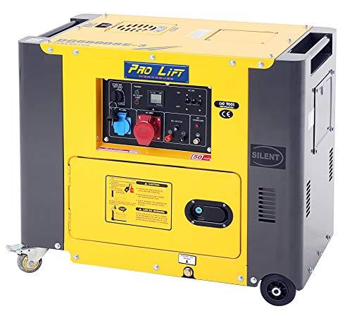 Pro-Lift-Werkzeuge Silent Stromaggregat 5500W 230V + 400V Stromerzeuger 4-Takt-Dieselmotor luftgekühlt Starkstrom Eletro-Starter Generator leise Diesel Notstromaggregat 5,5kW