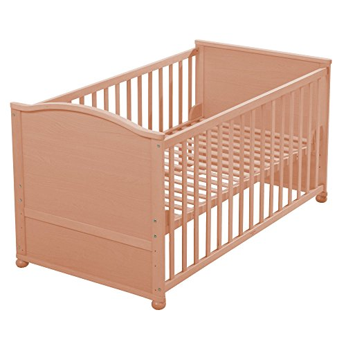 roba Lit bébé combiné 70x140cm, lit bébé en bois naturel, réglable sur 3 hauteurs, lit de bébé ou bien lit d'enfant avec barres planes, avec 3 barres amovibles, transformable en lit junior.