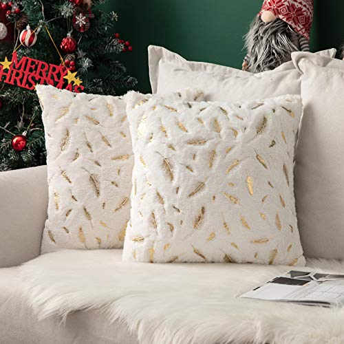 MIULEE Navidad Funda de Cojine Estampado de Plumas Doradas Funda de Almohada Sofá Throw Cojín Decoración Almohada Caso de la Cubierta Decorativo para Sala de Estar 45x45cm 2 Piezas Blanco