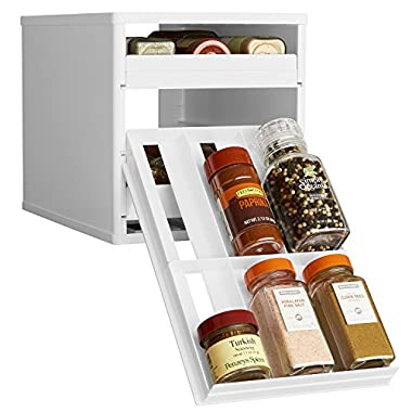 YouCopia Original SpiceStack 18-Bottle Spice Organizer with Universal Drawers, White