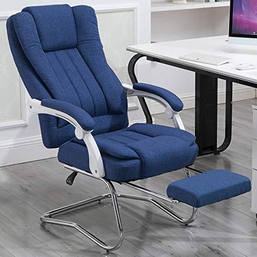 Ergonomischer Schreibtischstuhl Chefsessel,Kopfstütze ausziehbarer Fußablage Extra großer orthopädischer Drehstuhl Kunstleder Schreibtischstuhl Verdickte Rückenlehne Klappbare Armlehne, dark blue