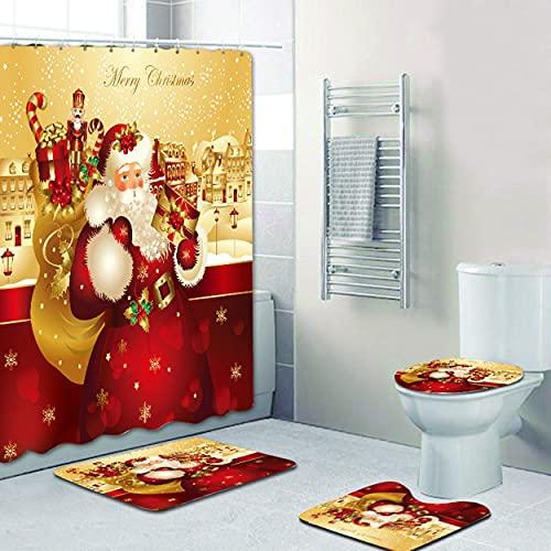 Cortina de ducha impermeable antimoho, poliéster, 4 unidades para bañera o baño, juego de 180 x 180 cm (B)