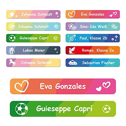 foliado® Namensaufkleber Kinder Etiketten Stifte 45x7mm Sticker Namensetikett Schule Kita Kindergarten selbstklebend personalisierte Klebeetiketten für Schulsachen wasserfest (60 Stück) APD-009