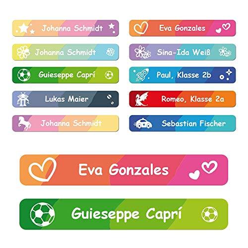 foliado® Namensaufkleber Kinder Etikett 45x7mm Sticker Namensetikett Schule Kita Kleidung personalisierte Klebeetiketten wasserfest (60 Stück) APD-009