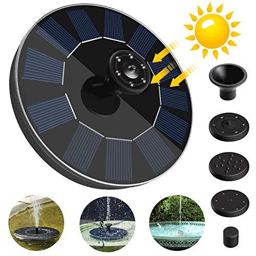 FYLINA Solar Springbrunnen Wasserpumpe Solarpumpe Solar Teichpumpe Outdoor 5 Düsen für Gartenteich Teich Vogel-Bad Fisch-Behälter Kleiner Teich Garten