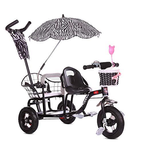 JYWXK Kinder-Dreirad, Doppel-Dreirad, Doppel-Dreirad, Doppel-Baby-Kinderwagen mit klappbarem Pedal, Sommer-Baby-Kinderwagen, für Kinder im Alter von 1–6 Jahren, Rosa Schwarz