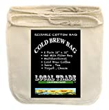 (2 PACK) Cotton Cold Brew Coffee Bags - Large 12 x 12 Inch Reusable Filter bag - Designed To Filter Out Coffee Grounds And Sediment Cold Brew Bags Are Great Coffee Makers And More Tea - Juice +