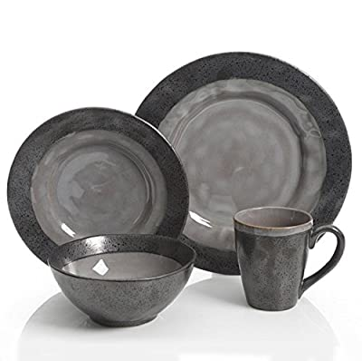 Gibson Dragonstone 16 pc Dinnerware Set Grey Stoneware, Gray - 99827.16R