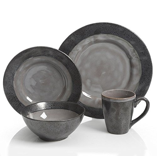 Gibson Dragonstone 16 pc Dinnerware Set Grey Stoneware, Gray - 99827.16R