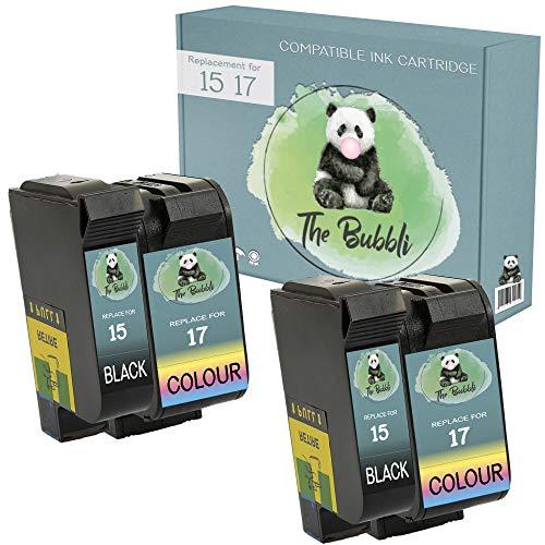 The Bubbli Original | 15 17 Remanufacturado Cartucho de Tinta Compatible para HP Deskjet 816c 825c 825cvr 840c 841c 842c 843c 845c 845cvr (Negro/Color, 4-Pack)