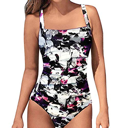 Women's Retro Pad Push-up Piece One-Piece Swimsuit Tummy Control Bath Suit Swimsuit Sliming Halter Bikini (White,XL)