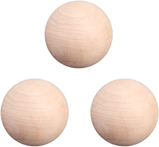 Wood Round Ball 3 Inch - Pack of 3 Wood Ball, Natural Unfinished Wooden Round Ball Craft Ball, Sanded Smooth, Solid Wood