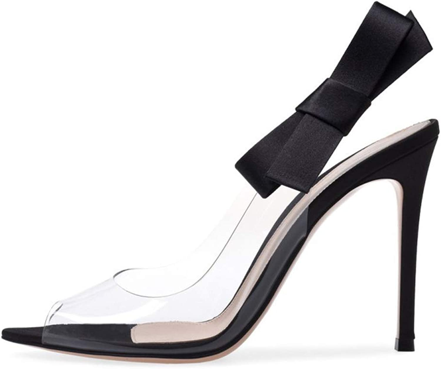 Womens high Heel shoes Microfiber Open Toe Stiletto Heels Shallow Mouth Bow Decorative Transparent Sandals Summer