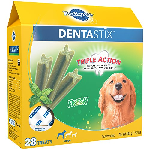 PEDIGREE DENTASTIX Fresh Breath Large Dog Dental Treats Fresh Flavor Dental Bones 152 lb Pack 28 Treats