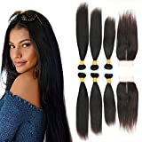 Brazilian Straight Virgin Hair 3 Bundles with Closure Middle Part 4x4 Grade 8a Human Hair Thick Natural Short Hair for Full Head No Shedding No Tangle (12 14 16 + 10 Inches)