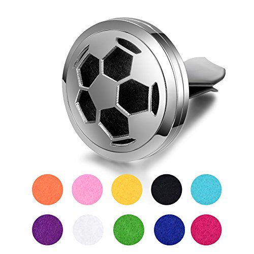 Sunling Stainless Steel Soccer Football Car Aromatherapy Essential Oil Diffuser Clip Locket Best Gift for Dad,Boyfriend,Husband