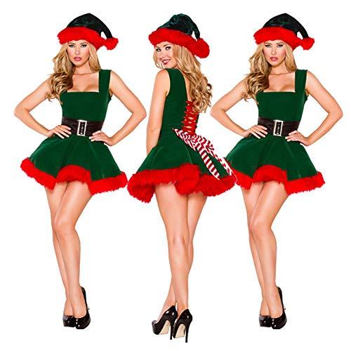 knowledgi Disfraz de elfa para Mujer, Gorro y túnica, Disfraces de Navidad para Mujeres Adultas Disfraces de Navidad Cosplay Multicolor (Verde)
