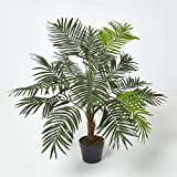 Homescapes Mini Palm Tree Artificial Plant Tropical Office Conservatory Indoor Plant Green 100 cm /3 ft with Black Pot