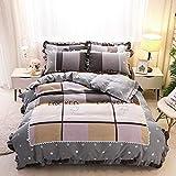 LDDPP Queen - Juego de funda de edredón de algodón de 4 piezas, diseño floral, para estudiantes, es limpio y sencillo, ultra cómodo, transpirable, hipoalergénico, Pandora., 1.8m(6ft) Bed sheet