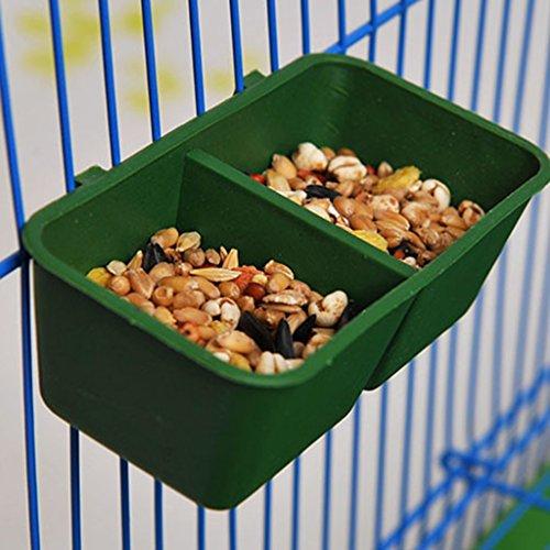 Qiman Vogelfutterstation für Käfig, Doppelnapf, für Papageien, Tauben