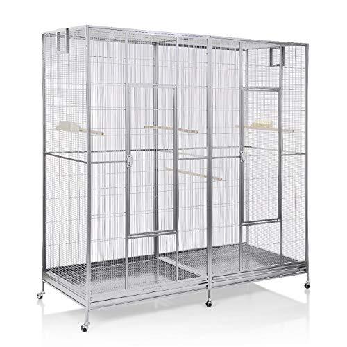 Montana Cages ® | Doppelvoliere, Vogelvoliere XXL Sydney Platinum für Wellensittiche, Finken, Kanarien, Nymphensittiche