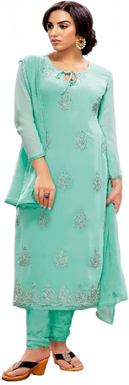 bluee Bollywood Party wear Straight Salwar Kameez Suit Dupatta Ceremony Punjabi