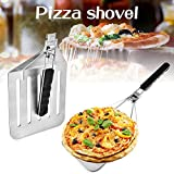 Pizza Peel with TPR Rubber Foldable Handle, 430 Stainless Steel Collapsible Cake Transfer Shovel,...