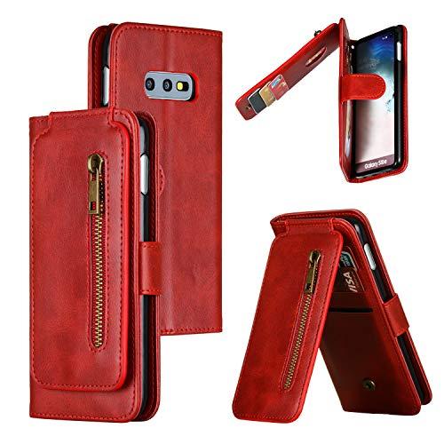 Snow Color Galaxy S10e Hülle, Premium Leder Tasche Flip Wallet Case [Standfunktion] [Kartenfächern] PU-Leder Schutzhülle Brieftasche Handyhülle für Samsung Galaxy S10e/G970F - COYKB030201 Rot