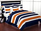 Sweet Jojo Designs Navy Blue, Orange and White Childrens, Teen 3 Piece Full/Queen Boys Stripe Bedding Set Collection