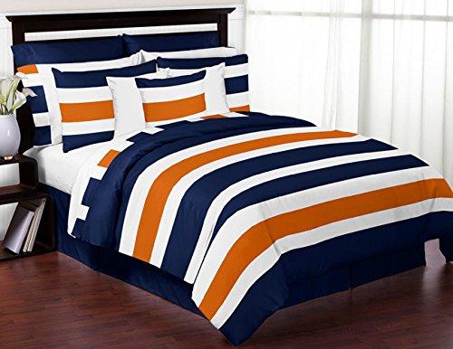 Sweet diseños Jojo Niños, color azul marino, naranja y blanco Teen 3piezas Full/Queen Juego de ropa de cama de rayas de Boys Collection