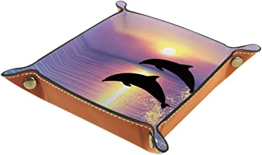 Dolphins Jumping Sunset Leather Tray Dice Box Bedside Tray Key Watches and Candy Holder Sundries Entryway Tray,20.5x20.5cm